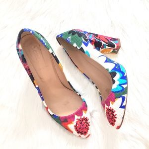 [J. Crew] Stella floral multicolor leather pumps